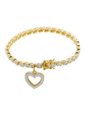 Diamond Accent Charm Tennis Bracelet, 7.25""