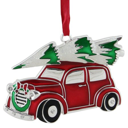 Northlight Silver Plated Car with Tree and Wreath Christmas Ornament for $<!---->
