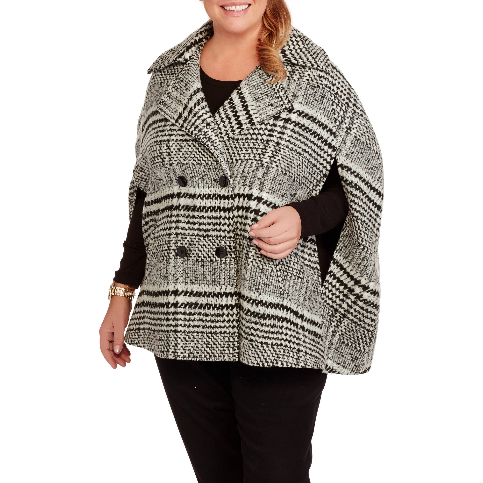 Maxwell Studio Women's Plus-Size Houndstooth Faux Wool Cape