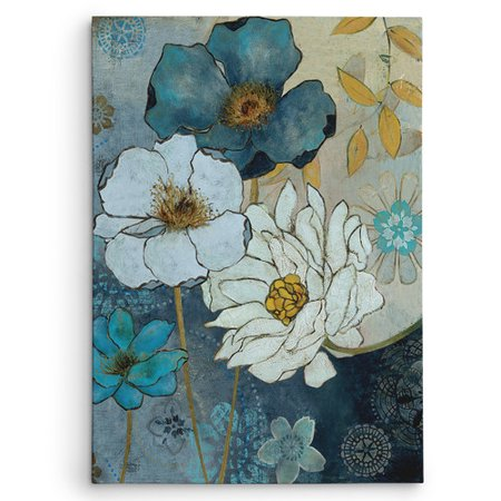Wexford Home 'Blue Denim Garden II' by Carol Robinson Painting Print on Wrapped Canvas