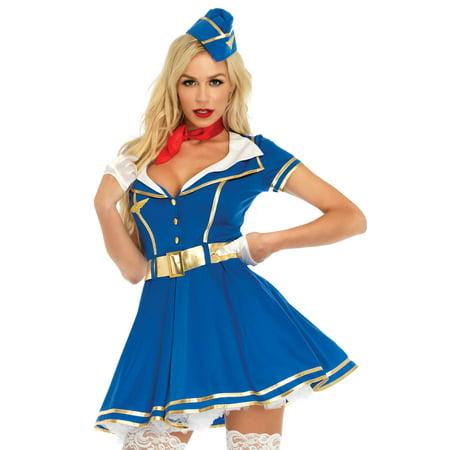 Stewardess Halloween Costume (Leg Avenue Womens 4 PC Sexy Stewardess)