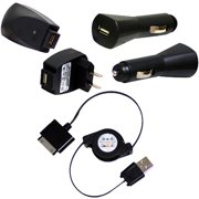 3-piece USB Wall, Car, Cable Charger Combo for Sandisk Sansa