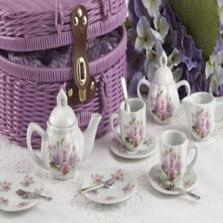 Delton Products Rose Pattern 1X Child Size Pretty Little Tea Set for Two in Basket, Pink (Little Girl China Tea Sets)