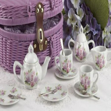 Delton Products Rose Pattern 1X Child Size Pretty Little Tea Set for Two in Basket, Pink