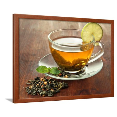 Transparent Cup of Green Tea with Lime on Wooden Background Framed Print Wall Art By Yastremska (Halloween Clip Art Transparent Background)