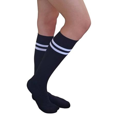 AM Landen Stripe Knee High Socks Stripe Socks Cheerleader Socks Uniform Socks (Black/White 2 - Black And White Striped Socks