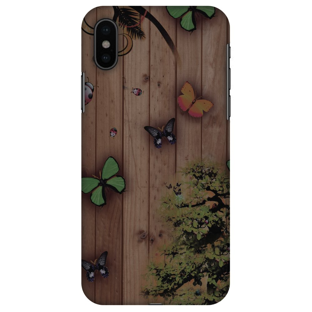 iPhone X Designer Case, Premium Handcrafted Printed Designer Hard ShockProof Case Back Cover for Apple iPhone X - Bonsai Butterfly, Thin, Light Weight, HD Colour, Smooth Finish
