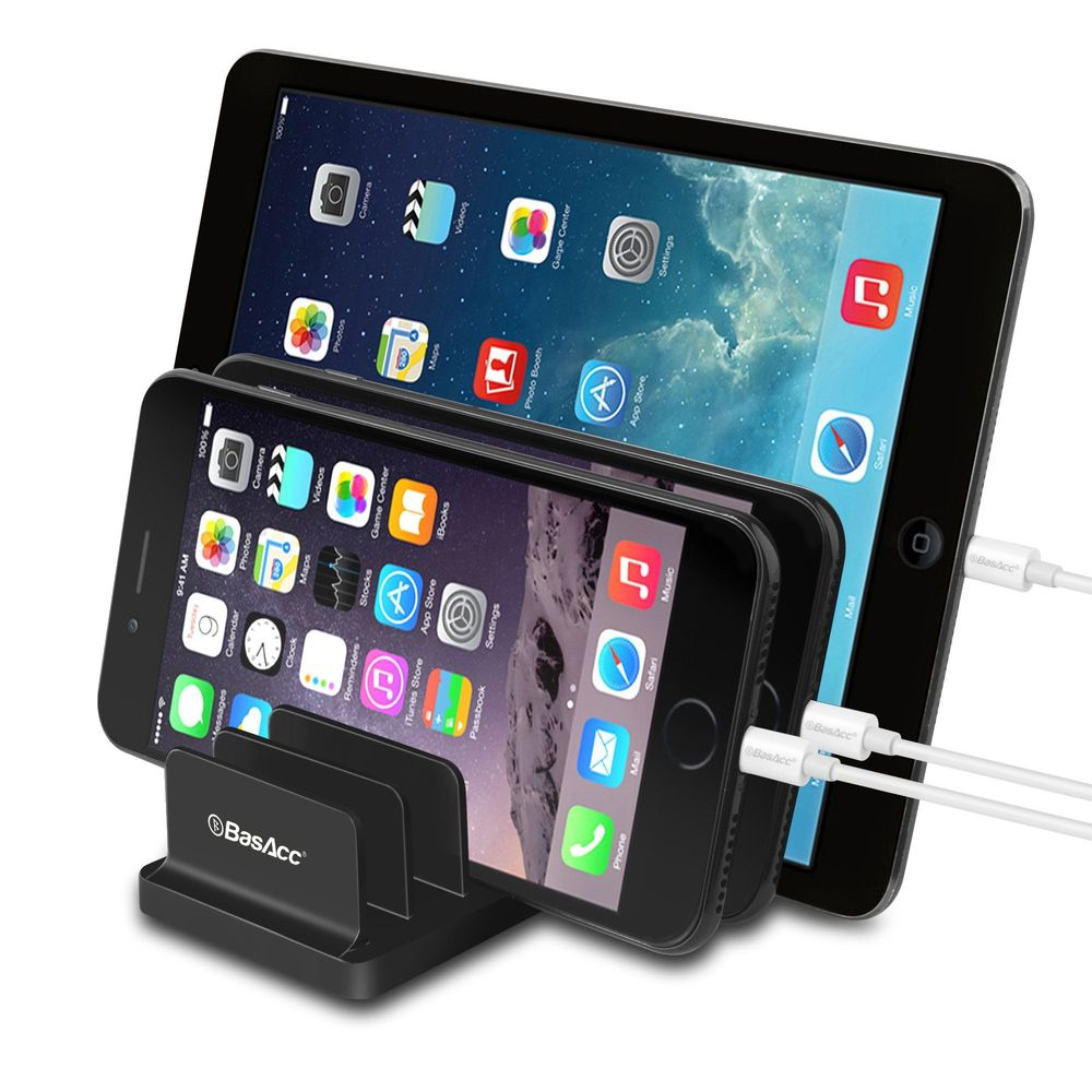 Basacc Universal Charging Station Stand Dock Multi Device Desk Organizer Tablet Phone Holder Support 6 Devices For Apple Iphone X 8 7 6s Plus Se 5s Ipad