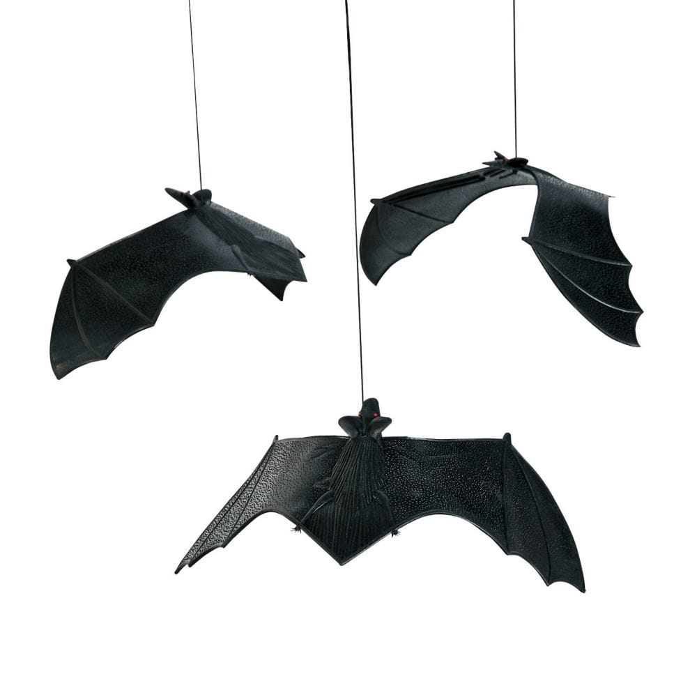 12 Vinyl Hanging BATS w/Suction Cups/HALLOWEEN PARTY DECORATIONS/Decor