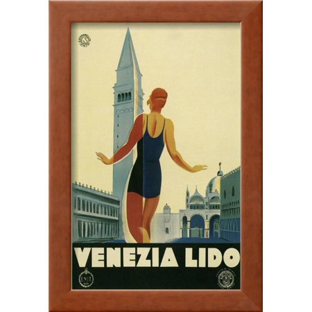 Travel Poster for the Lido, Venice, Italy Framed Print Wall Art By ...