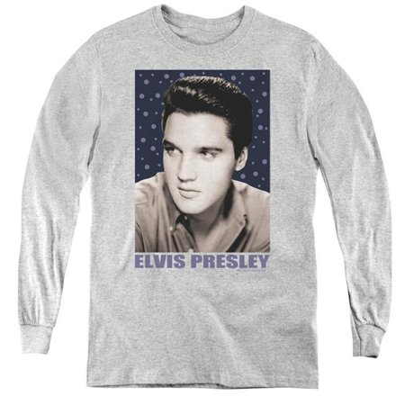 Elvis Presley & Blue Sparkle Youth Long Sleeve T-Shirt, Athletic Heather - Small - image 1 of 1
