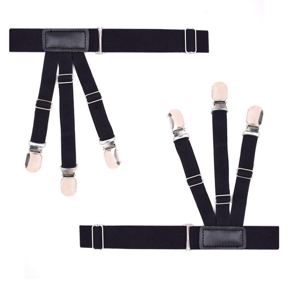 Men Dress Shirt Stays Holder Adjustable Elastic Garter Belts Non-slip Clamps