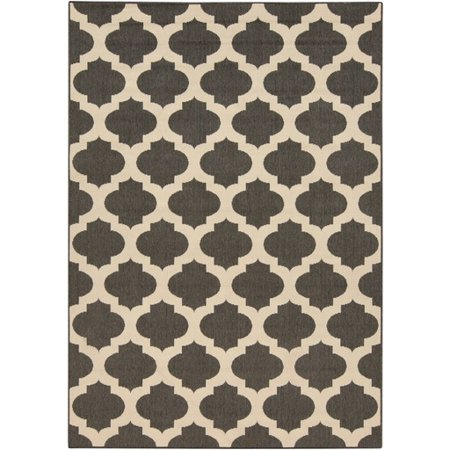 2.25' x 4.5' Moroccan Gateway Espresso Brown and Cream White Shed-Free Area Throw Rug (Brown And Cream Rug)