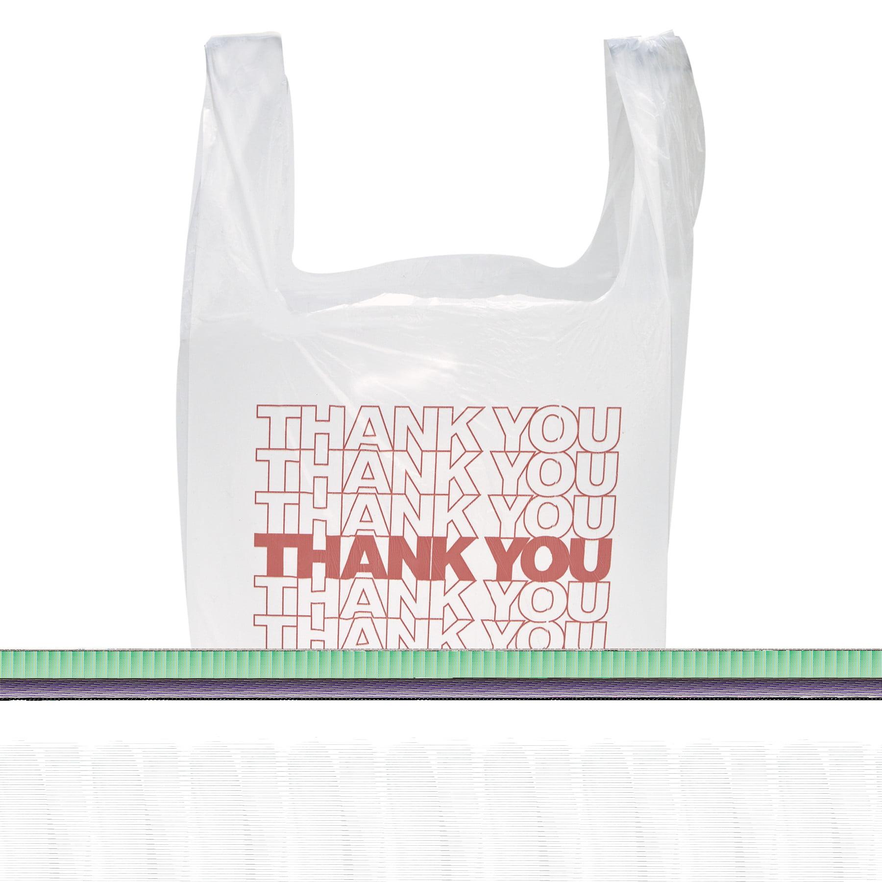 "Inteplast Group ""Thank You"" Handled T-Shirt Bags, 11 1/2 x 21, Polyethylene, White, 900/Carton"