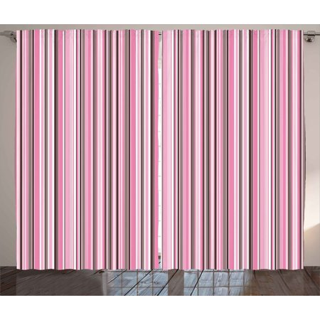 - Modern Decor Curtains 2 Panels Set, Abstract Retro Vintage Stripes Lines Geometrical Print, Window Drapes for Living Room Bedroom, 108W X 84L Inches, Light Pink Grey White and Mauve, by Ambesonne
