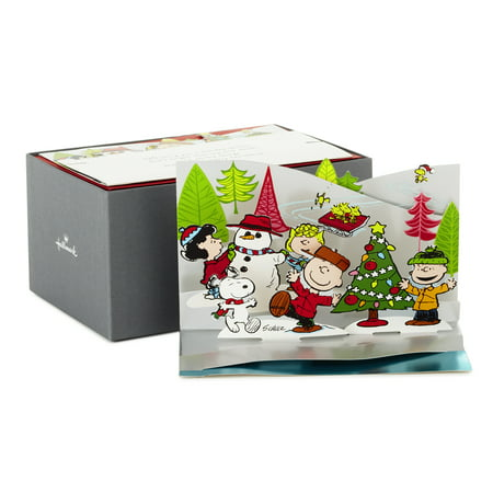 Hallmark Peanuts Papercraft Christmas Boxed Cards, Pop Up Winter Scene (5 Cards with - Easy Halloween Pop Up Cards