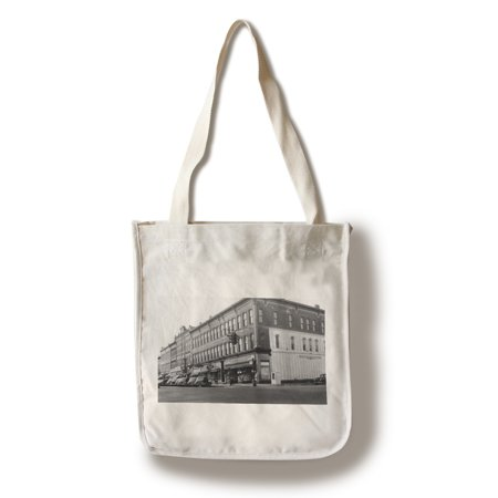 Big Rapids, Michigan - View of a City Street Corner (100% Cotton Tote Bag - (Michigan City Mall Stores)