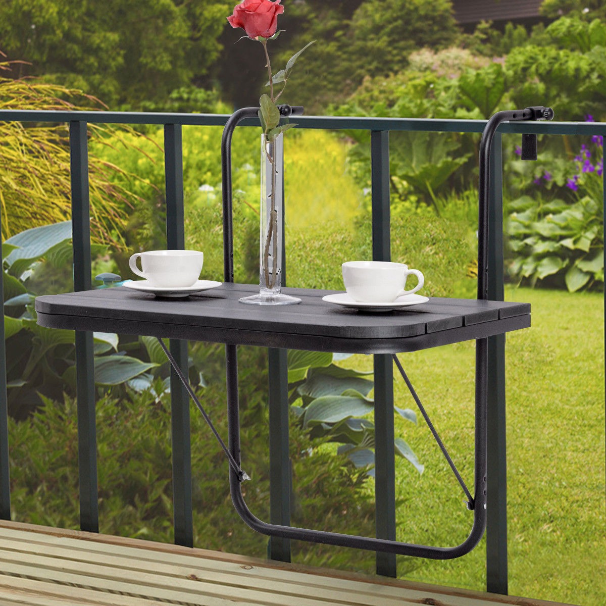 Costway Folding Balcony Deck Table Patio Small Side Stand Hanging Railing Adjustable