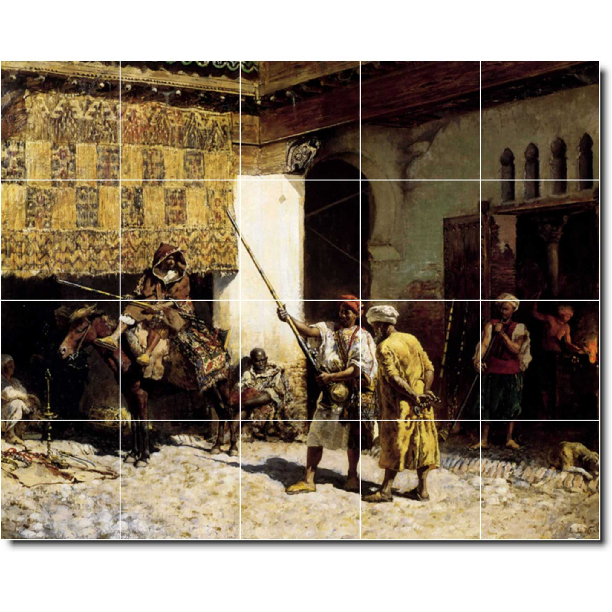 - Ceramic Tile Mural-Edwin Weeks Historical Backsplash Tile Mural 21