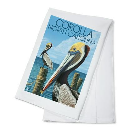 Corolla, North Carolina - Pelicans - Lantern Press Poster (100% Cotton Kitchen Towel)