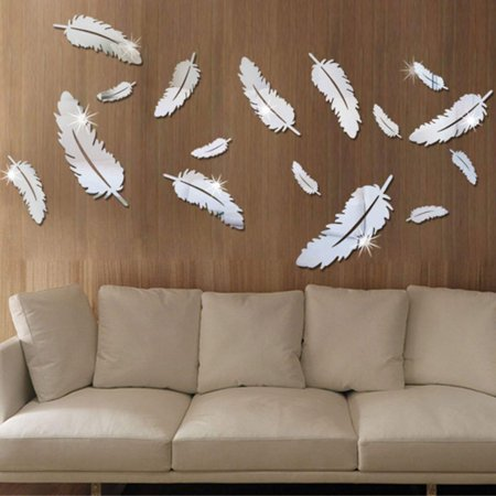 Removable Feather (Modern 3D Mirror Feather Wall Stickers Wall Decal DIY Removable Dining Room Bedroom Home Room Home Room Decor Fashion)