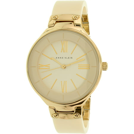 Anne Klein Women's AK-1958IVGB Beige Ceramic Analog Quartz Fashion Watch