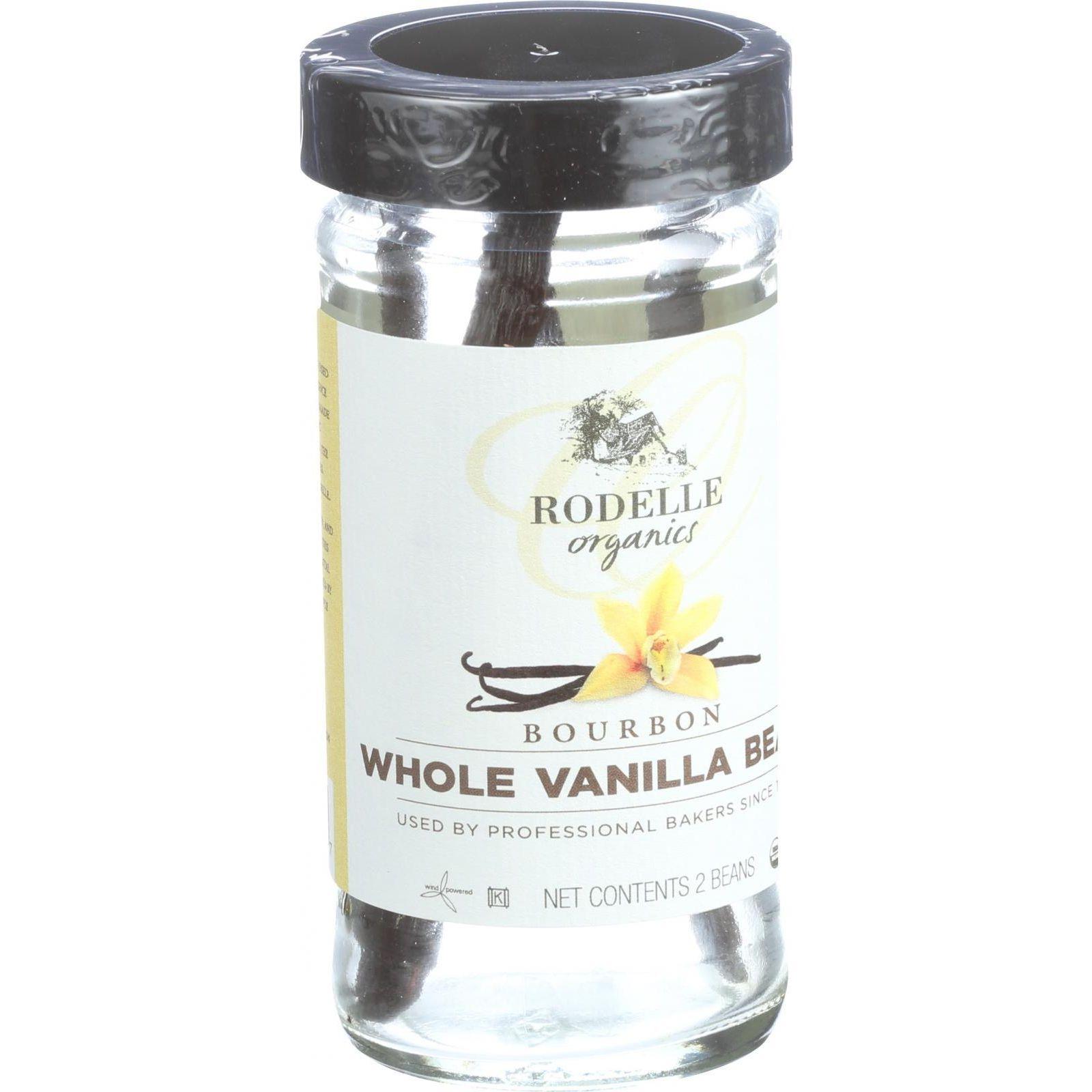 Rodelle Organic Vanilla Beans - Whole - Bourbon - 2 Count - Case of 6