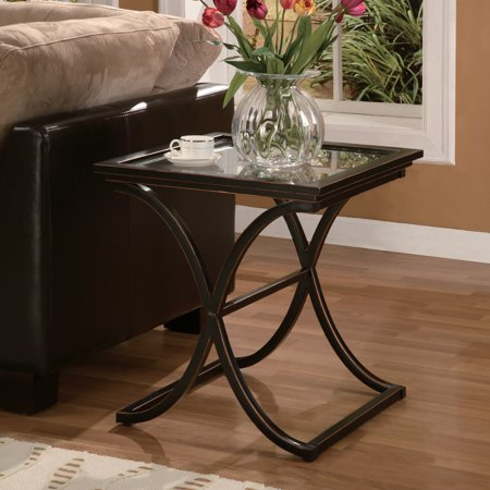 Vogue End Table, Metal & Glass, Black