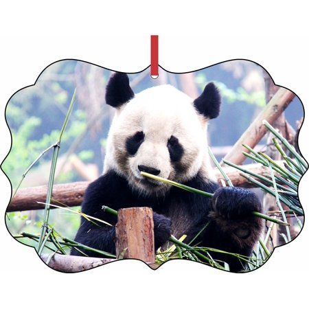 Panda Bear Elegant Aluminum SemiGloss Christmas Ornament ...