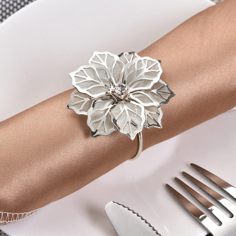 6pcs Napkin Rings Napkin Holder Wedding Banquet Dinner Decor Silver Nice
