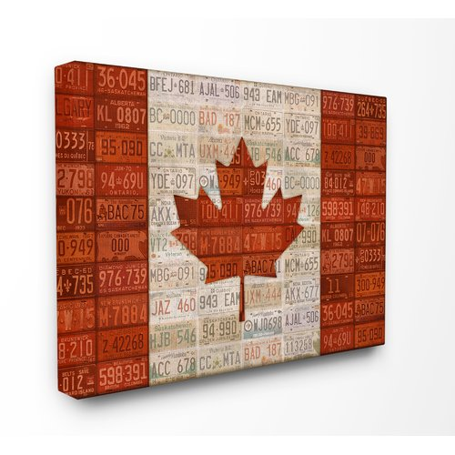 Stupell Industries Canadian Flag With License Plates Stretched Graphic Art On Canvas Walmart Com Walmart Com