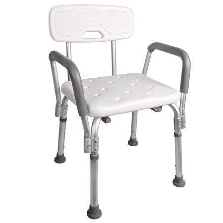 Zimtown Adjustable Medical Shower Chair Bathtub Bench Bath Seat Stool Armrest Back White ()