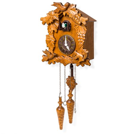 Eight Day Musical Cuckoos Clocks - Best Choice Products Living Room Wall Decor Handcrafted Wood Cuckoo Clock w/Adjustable Volume & Night Sensor