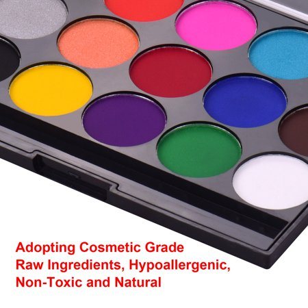 Professional Body Art Face Painting Kit Water Based Removable Body Paints 15 Colors Palette with 2 Paintbrushes and 4 Templates for Costume Makeup Themed Party Supplies - image 4 de 7