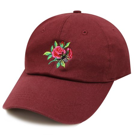 City Hunter Tre180 Bee and Roses Tattoo Cotton Baseball Caps - 6 Colors (Burgundy) - Robe City