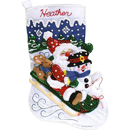 Janlynn Felt Applique Kit, Christmas Fun Stocking