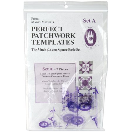 Perfect Patchwork 3-Inch Template Set A, Basic Square Set, Package of Seven Perfect Mount Template