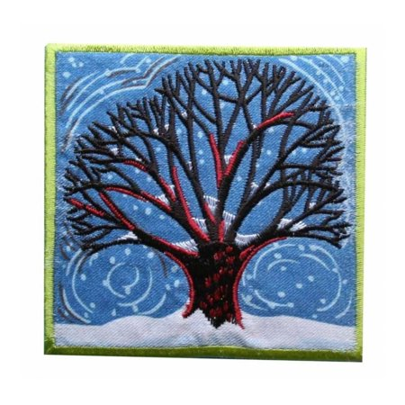 ID 1375 Winter Tree Badge Patch Snow Storm Cold Embroidered Iron On Applique