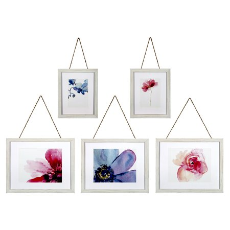 Set of 5 Piece Distressed White Rope Hanging Photo Frames Wall Gallery Kit Scr Frame Kit