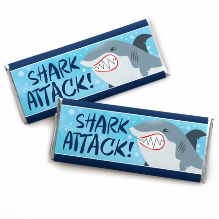 Shark Candy (Shark Zone - Candy Bar Wrapper Jawsome Shark Party or Birthday Party Favors - Set of)