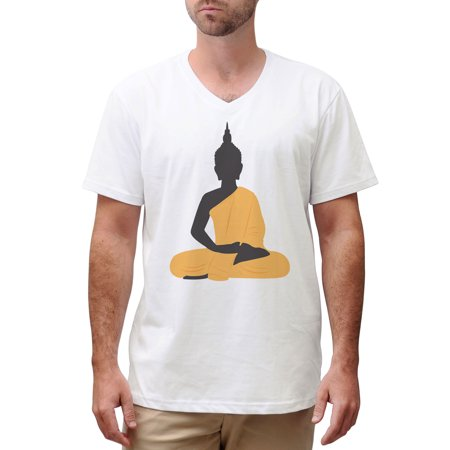 Buddha Shakyamuni Printed Cotton Short Sleeves V-neck Men T-shirt MTS_02 5XL
