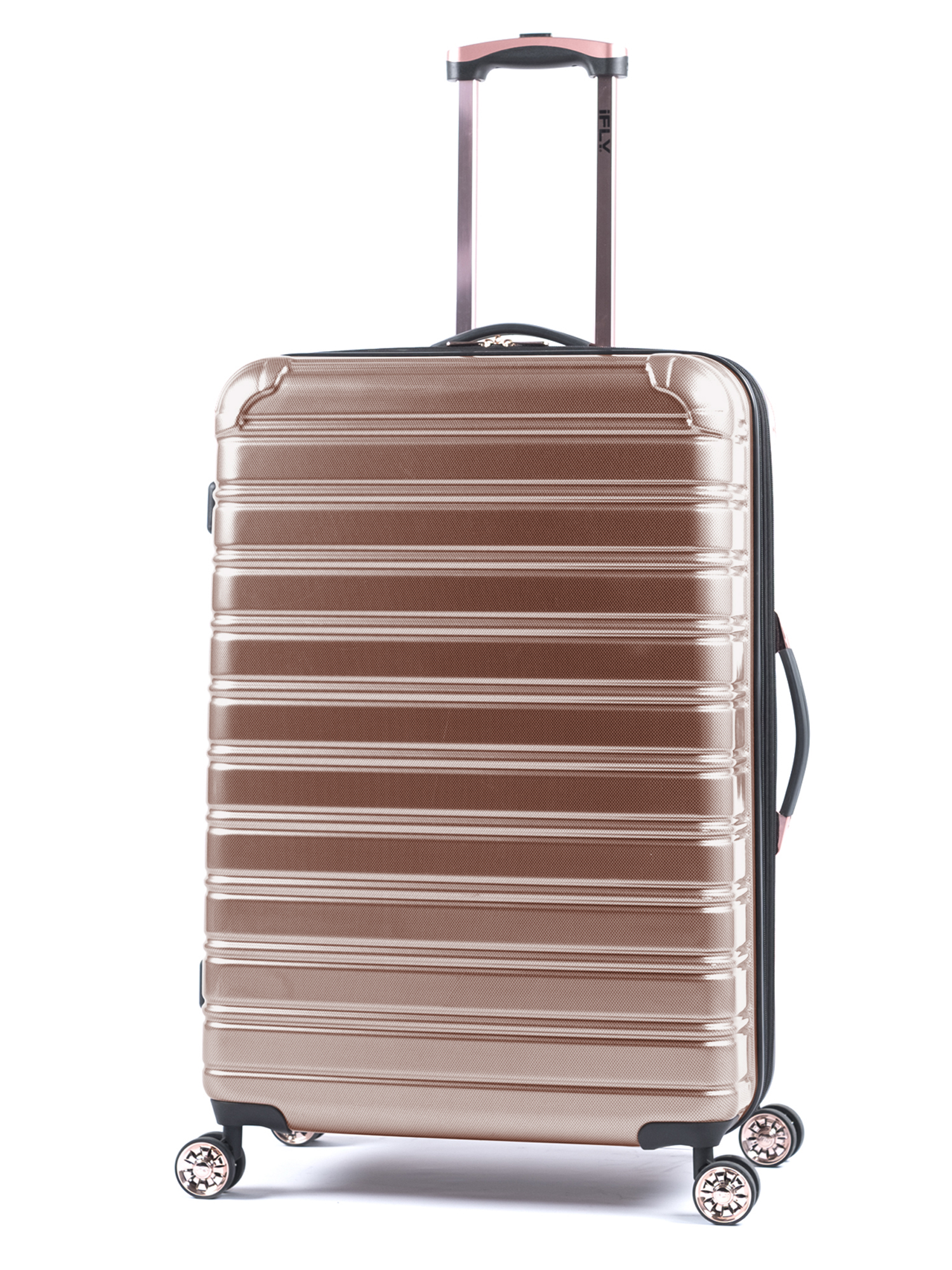 "iFLY Hard Sided Fibertech 28"" Checked Luggage, Rose Gold Luggage"