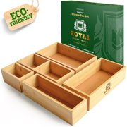 Royal Craft Wood Bamboo Drawer Organizer Storage Box / Bin Set - 5-Piece Multi-Use Drawer Organizer for Kitchen, Bathroom, Office Desk, Makeup, Jewelry