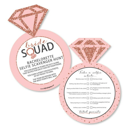 Bride Squad - Selfie Scavenger Hunt - Rose Gold Bridal Shower or Bachelorette Party Game - Set of 12