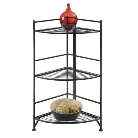 Convenience Concepts 3-Tier Corner Folding Metal Corner Shelf, Black