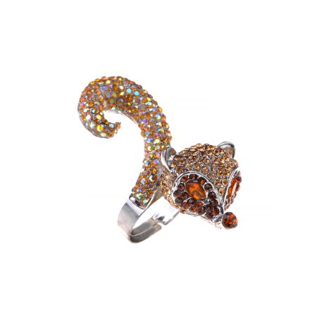 Topaz Brown Fox Head Light Topaz Body Tail Crystal Rhinestone Statement Ring