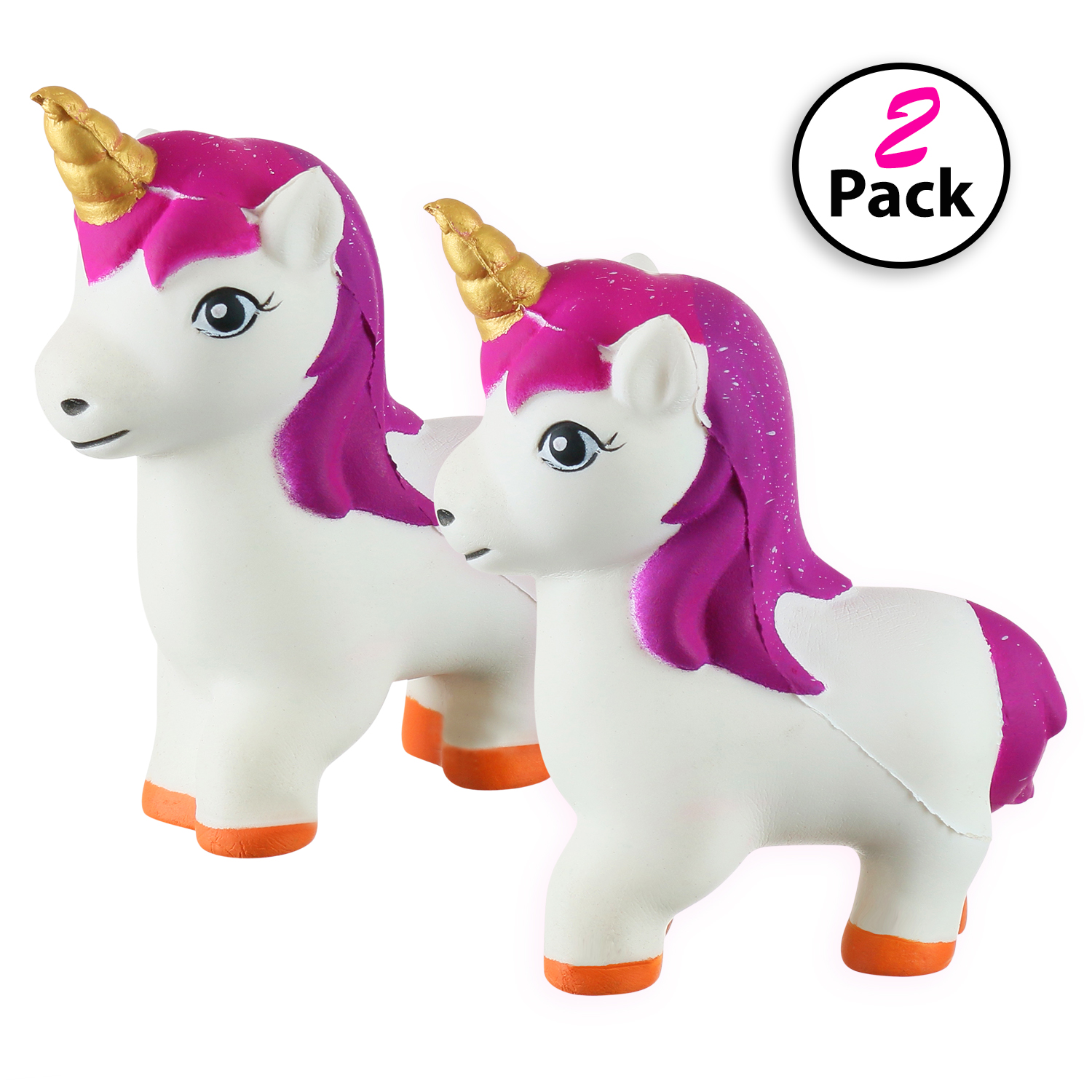 DG SPORTS Slow Rising Kawaii Unicorn Squishy Toy (2-Pack), Cute Animal Shaped Stress Relief Toys for Kids, 4 x 2 x 5 inches