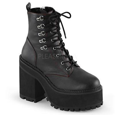 ASST100 BVL Blk Vegan Leather Demonia Vegan Boots Womens Size: 11 by