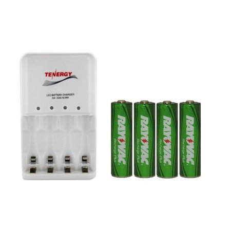4 Bay AA / AAA LED Smart Battery Charger + 4 AA Rayovac 2400 mAh NiMH Batteries (Low Discharge) - image 1 de 1
