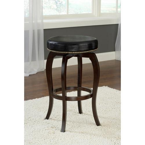 "Hillsdale Furniture Wilmington Swivel Backless 31.4"" Bar Stool, Cappuccino Finish, Black PU Seat"